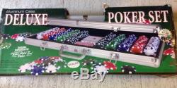 Deluxe 500 Poker Texas Hold Em Chip Set w Case Chips 11.5 Gram