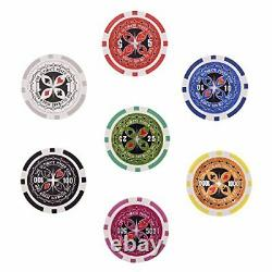 Display4top 500 Piece Texas Holdem Poker Chips Set with Aluminum Case 2 Decks