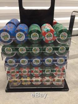 Dunes 9.5g 1000 piece poker chip set with birdcage