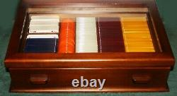 FATHER'S DAY ITALY POKER CHIP SET WOOD CASE LUCITE CHIPS 1970s DUNHILL CARDS WPC