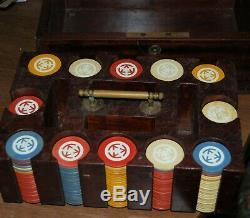 Fantastic antique poker set beautiful wood/brass case loaded with poker chips