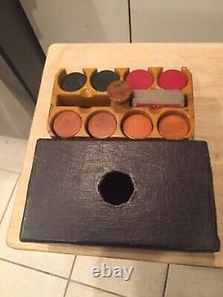 Faux Leather Look Covered Bakelite Catalin Poker Chip Set w Rack ART DECO