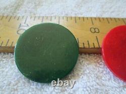 Fine Set of 301 Bakelite Poker Chips withOB Red, Green & Butterscotch Swirls