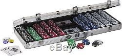 Full 500 Poker Chips Set Aluminum Case Casino Playing Cards Button Table Em Game