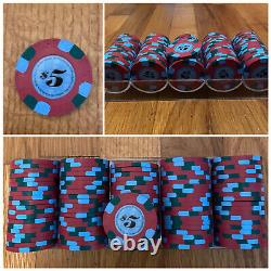 Full Set! 1000 Rare Paulson top hat and cane poker chips + racks & Clear Case