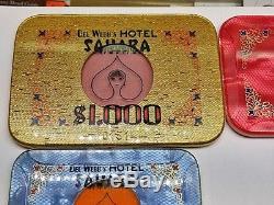 Full Set Del Webb Sahara Hotel Casino Baccarat Chips Plaques Las Vegas 1000 RARE