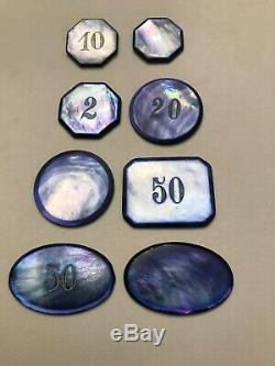 Great French Mother Of Pearl Casino Chips Set Of (8) Eight In Nice Blue Color