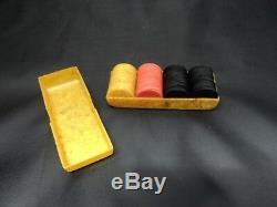 HTF Antique Catalin Poker Chips And Case Complete Set Original Miniature Travel
