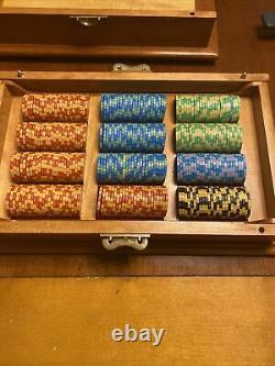 Hand Crafted 3 Piece Oak Poker Set Chips And Cards