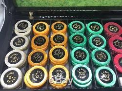 Hector Saxe Paris Designer Logo 173 Chips Poker Set W Dice Marbled Case Casino