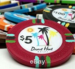 Holdem Poker Chip Set Desert Heat 500 Count 13.5g Mahogany Case