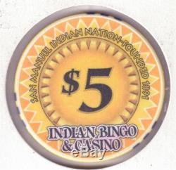 Indian Bingo Casino, Highland, CA, 5 Set Poker Chips, Very Rare, #269