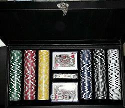 Italfama Poker Set 300 Cards Dice Black Leatherette Case Casino Quality