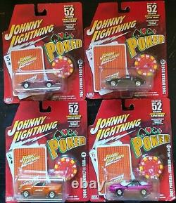 JOHNNY LIGHTNING POKER SERIES Comple Set of Cars on list 1/64 WithCards & Chip