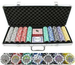 JPC 13.5g 500pc Monaco Casino Clay Poker Chips Set, family game night