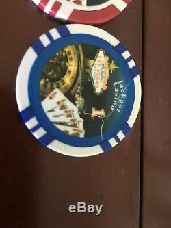 Jackpot casino las vegas poker chip set 596 chips 100 50 25 5 1 Vintage Case