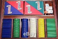 Janetti Poker Chip Set Mid-Century Modern Sterling Silver Trim Vintage