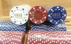 Knob Creek Wooden Poker Set Case with 300 Poker Chips and 2 Packs of Cards
