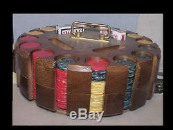 LARGE VINTAGE wooden CADDY CAROUSEL BAKELITE POKER SET 480 CHIPS