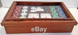 Luxury Designer Agresti Clay Poker Chip Game Set In Glass /briarwood Case