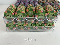 Large Paulson Classic Top Hat and Cane Poker Chip Set 979 Chips