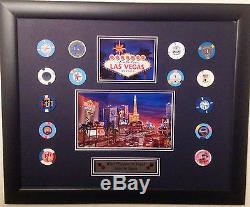 Las Vegas Strip Photo Casino Poker Chips Set Framed