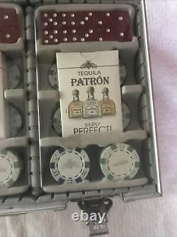 Lot 3 Patron Tequila Casino Style Clay Poker Chips Cards and Dice Sets LNC +case
