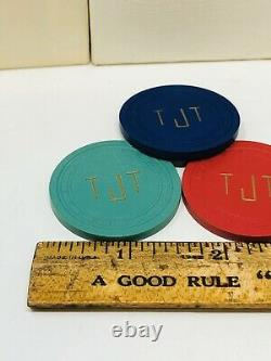 Lot of 300 Langs Clay Poker Chips Red Green Blue Set Antique Rare TT20