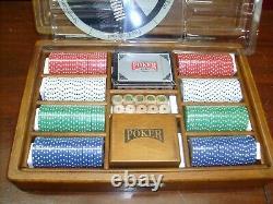 M. Louis Acc. Professional Poker Chip & Card Set Wood Case