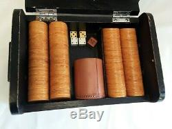 MCM Bakelite Gaming and Poker Chips set in Wooden Box