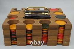 Made in Italy Vintage 250+ Pieces Marbelized Swirl Bakelite Poker Chips Set
