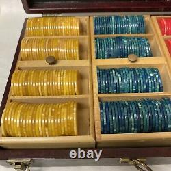 Marbled Bakelite Catalin Poker Chips Multi-color Set 396 Pieces W Boxed Caddy