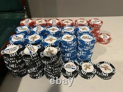 Michelob Amber Bock Poker Chip Set 400 Chips, 2 Decks of Cards, Dealer Button