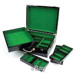 Monaco Millions Casino Poker Chip Set 500 Poker Chips Hi Gloss Wood case