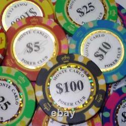 Monte Carlo Casino 500 piece Poker Chip Set with Aluminum Case
