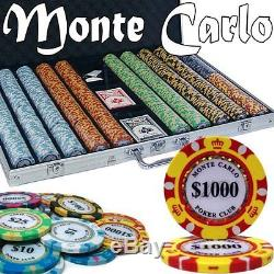 Monte Carlo Casino Poker Chip Set 1000 Count Brybelly Craps Roulette Baccarat