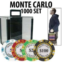 Monte Carlo Casino Poker Chip Set 1000 Poker Chips Acrylic Carrier and Racks