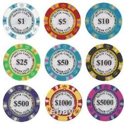 Monte Carlo Casino Poker Chip Set 650 Poker Chips with Aluminum Case