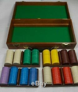 Mr Lucky Clay Poker Chip Set with Box Removable Trays & Lid Vintage