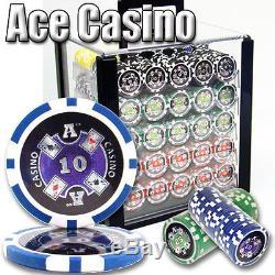 NEW 1000 Ace Casino 14 Gram Poker Chips Acrylic Case Racks Set Pick Denomination