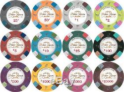NEW 1000 Monaco Club 13.5 Gram Poker Chips Set w Acrylic Carrier Case Pick Chips