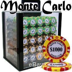NEW 1000 Monte Carlo 14 Gram Poker Chips Acrylic Case Set With Racks Pick Denoms