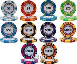 NEW 1000 Monte Carlo 14 Gram Poker Chips Rolling Aluminum Case Set Pick Chips