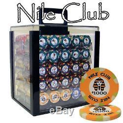 NEW 1000 Nile Club Ceramic 10 Gram Poker Chips Set Acrylic Carrier U Pick Chips