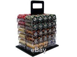 NEW 1000 Nile Club Ceramic 10 Gram Poker Chips Set Acrylic Carrier U Pick Chips