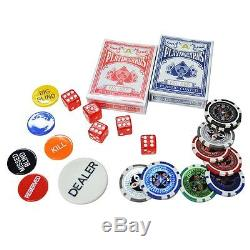 NEW 13.5g 1000 Chips Clay Casino Vegas Poker Game Card Set with Aluminum Case