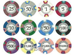 NEW 500 Milano Pure Clay 10 Gram Denomination Poker Chips Set with Aluminum Case