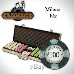 NEW 500 PC Milano Pure Clay 10 Gram Poker Chips Set Aluminum Case Pick Chips