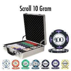 NEW 500 PC Scroll Ceramic 10 Gram Poker Chips Set Claysmith Case Pick YourChips