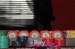 NEW 500 Piece Scroll Ceramic 10 Gram Denomination Poker Chips Set Aluminum Case